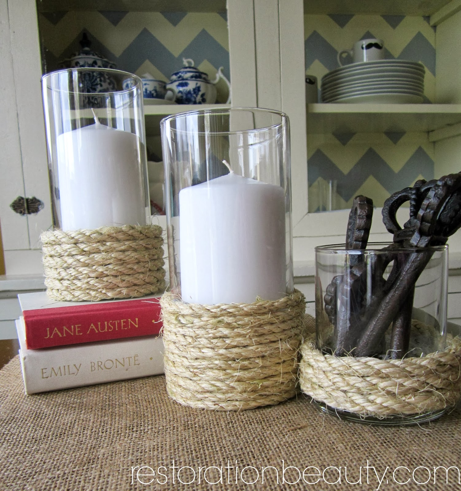 roped candle vases