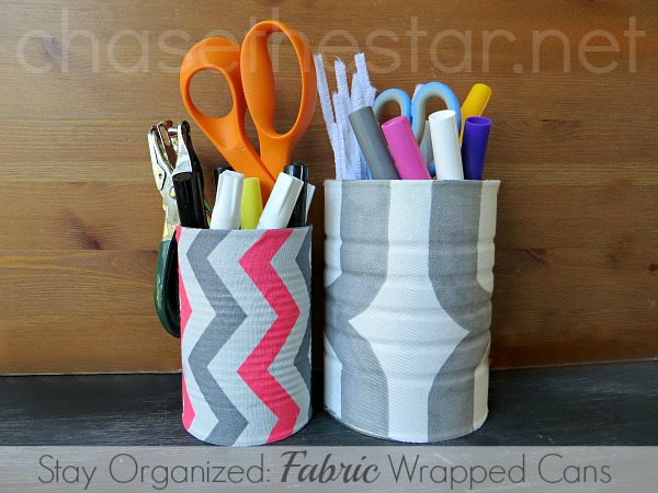 Fabric Wrapped Cans via Chase the Star #DIYcraft #fabric #repurpose