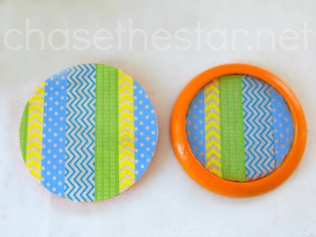 Washi Tape and Paint to update old coasters via Chase the Star