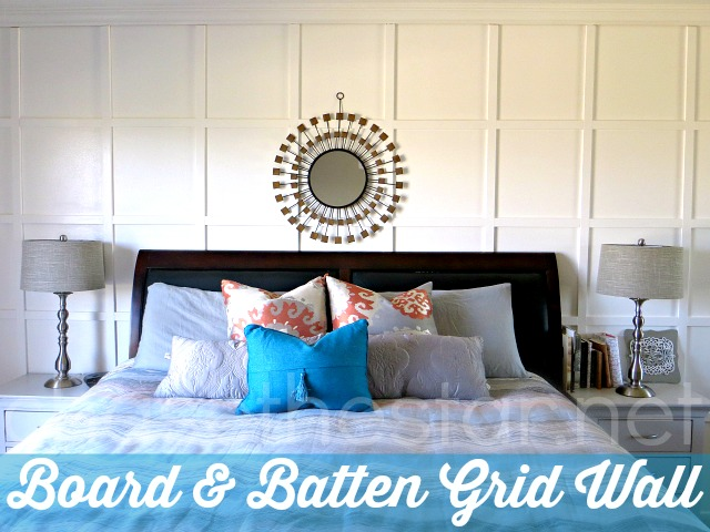 Board and Batten Grid Wall Tutorial via Chase the Star  boardandbatten. Board and Batten Grid Wall in the Master Bedroom