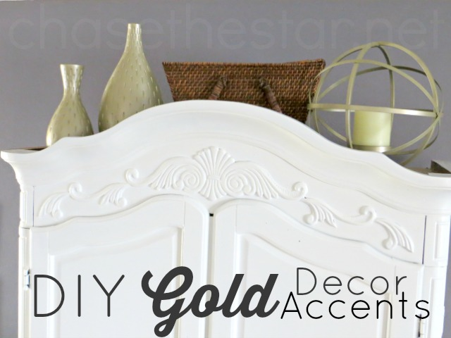 DIY Gold Decor Accents in less than an hour for under $7! via Chase the Star #spraypaint @KrylonBrand