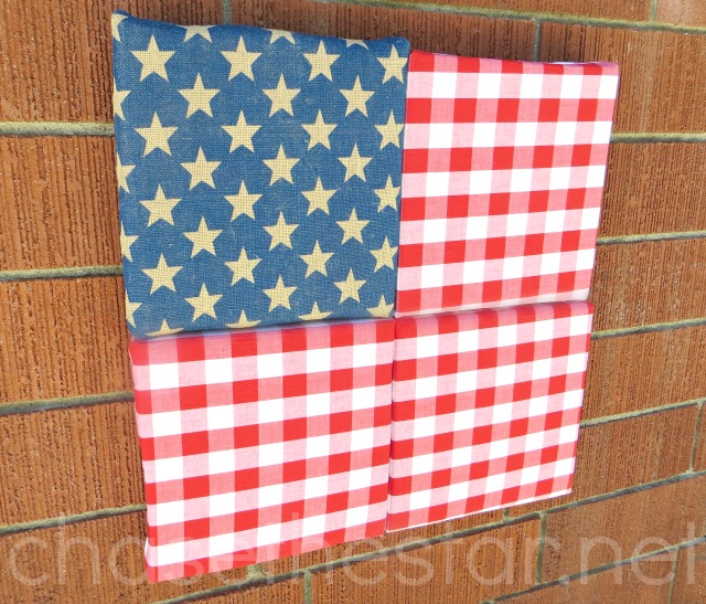Gingham and Burlap American Flag  Chase the Star  Foamology #Patriotic  #Country #americanflag