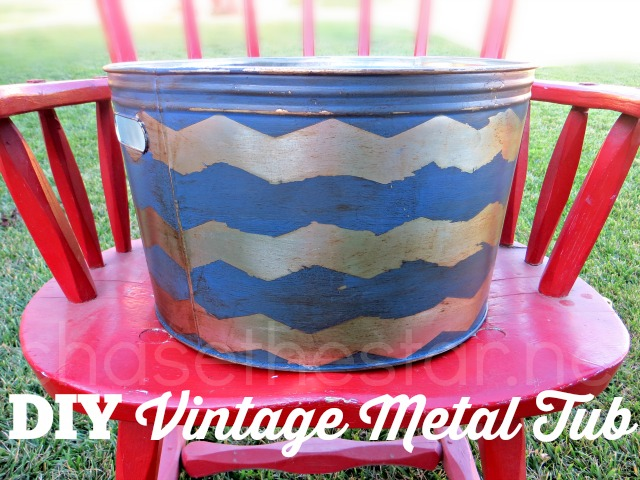 DIY Vintage Metal Tub via Chase the Star #chevron #nautical #aged #vintage #galvanized #shapetape @Theduckbrand #distressed