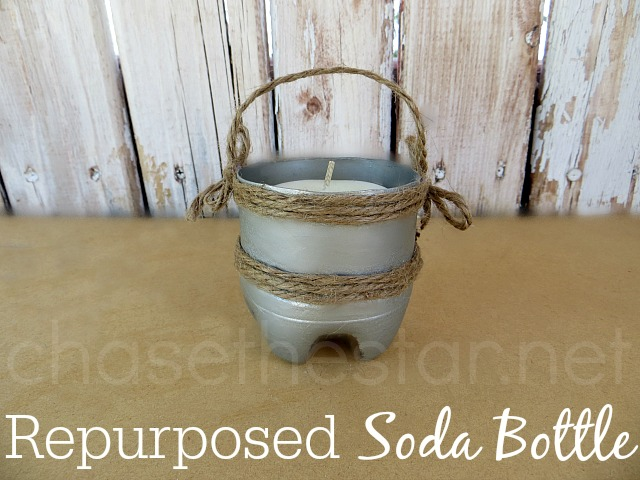 Repurposed Dr Pepper Bottle Into a Cute Rustic Votive Holder #sodabottlecraft #DIY #twine #BackyardBash #CollectiveBias #shop