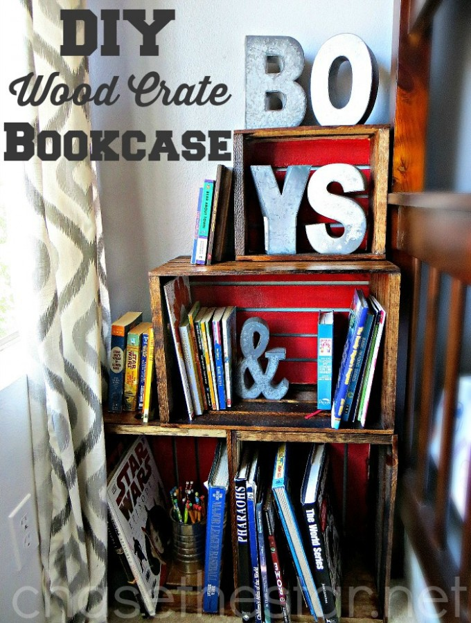 DIY Wood Crate BookCase via Chase the Star Perfect for Back to School! #michaelsmakers #backtoschool