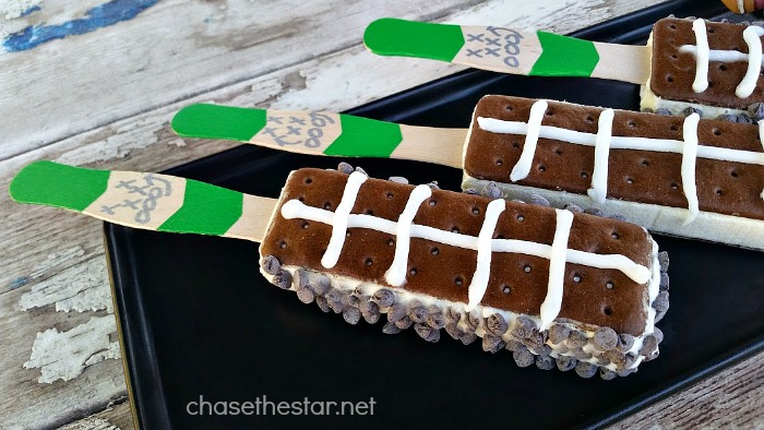 Fun Football party treats! Ice Cream Sandwiches on a stick! via Chase the Star #dessert