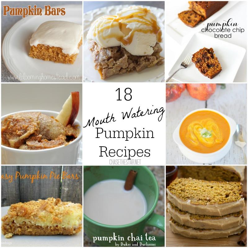 18 Pumpkin Recipes to inspire you this fall season! #fall #pumpkin #recipe #nomnom @chasethestar