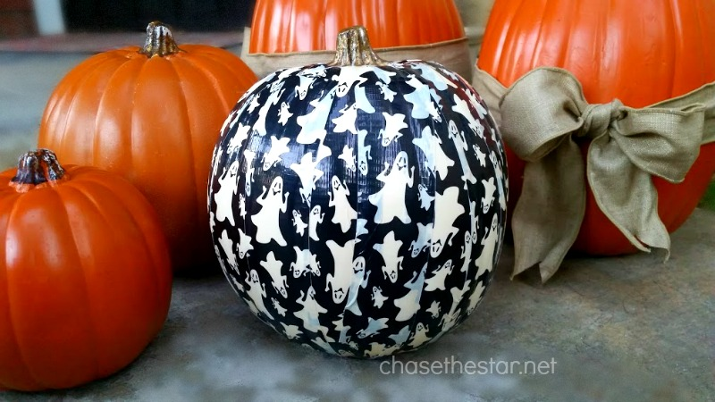 Cover a craft pumpkin in duck tape for a fun look. Enter the #trickYourPumpkin sweepstakes!
