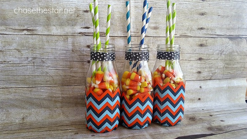 Cute Idea Dollar Bin Challenge Repurposed Milk Bottles via Chase the Star @theDuckbrand #washiTape #duckTape #kidsTable #thanksgiving #fall #halloween #candyCorn