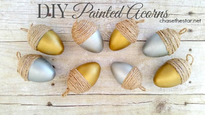DIY Painted Acorns made with repurposed Easter eggs! #repurpose #Thanksgiving #fall #Fallcraft #falldecor