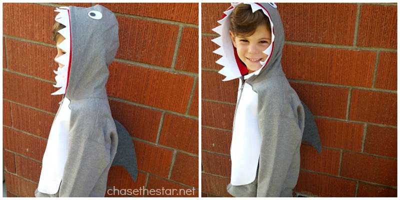Easy and Inexpensive DIY Shark Costume via Chase the Star #michaelsMakers @MichaelsStores