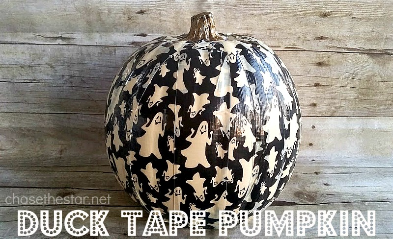 Ghost Duck Tape on a faux pumpkin! #trickyourpumpkin @Michaels #ducktape @TheDuckBrand