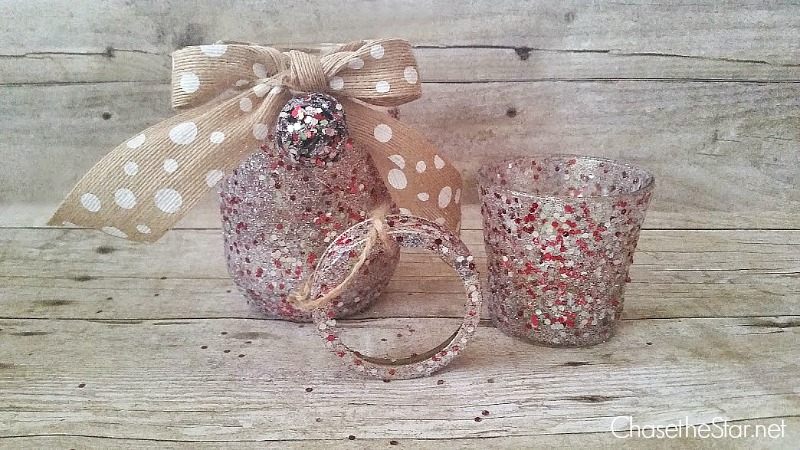 An easy holiday craft, a Glittered Jar Candle via Chase the Star #madewithmichaels @michaelsStores