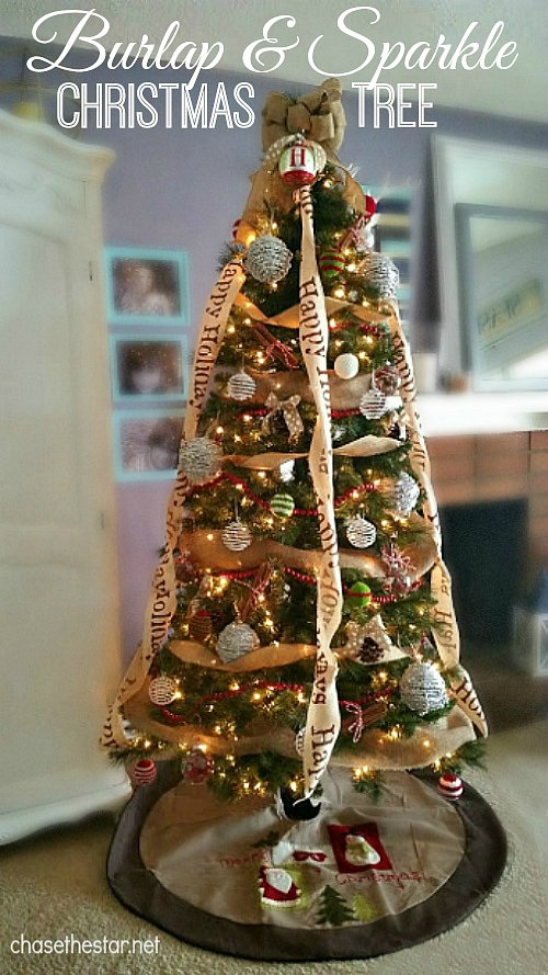 burlap and sparkle christmas tree part of michaels dream tree reveal michaelsmakers christmas - Burlap Christmas Decorations For Sale