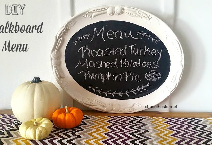 DIY Chalkboard Menu via Chase the Star #upcycle #repurpose #chalkboardpaint