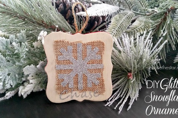 DIY Glitter Snowflake Ornament via Chase the Star