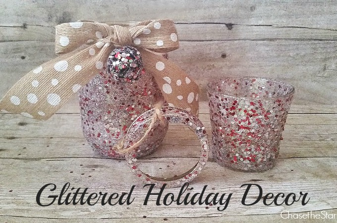 Glittered Holiday Decor via Chase the Star #MadewithMichaels