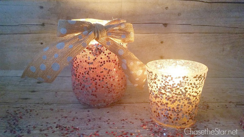 Glittered Jar Candle #MadeWithMichaels Easy craft for the holidays!