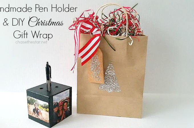 Handmade Pen Holder and DIY Christmas Gift Wrap via Chase the Star #michaelsmakers @michaelsstores #handmade #Christmas #holiday #gift
