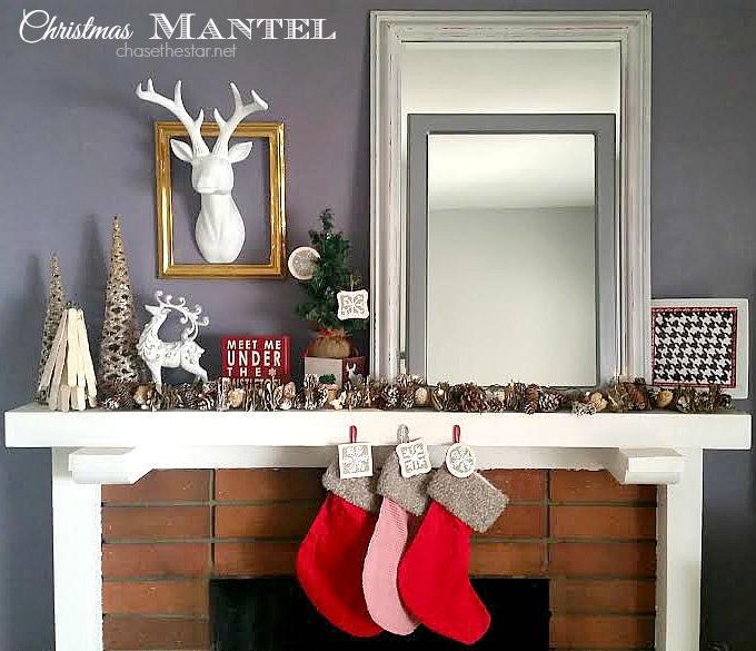 Christmas Mantel #mantel #christmas #staghead @Theduckbrand @sharpie @Michaels #DIY #winter #holidays via Chase the Star @chasethestar