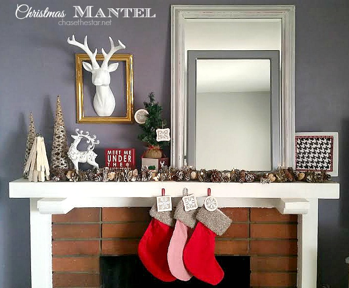 Christmas Mantel #mantel #christmas #staghead @Theduckbrand @sharpie @Michaels #DIY #winter #holidays via Chase the Star @chasethestar