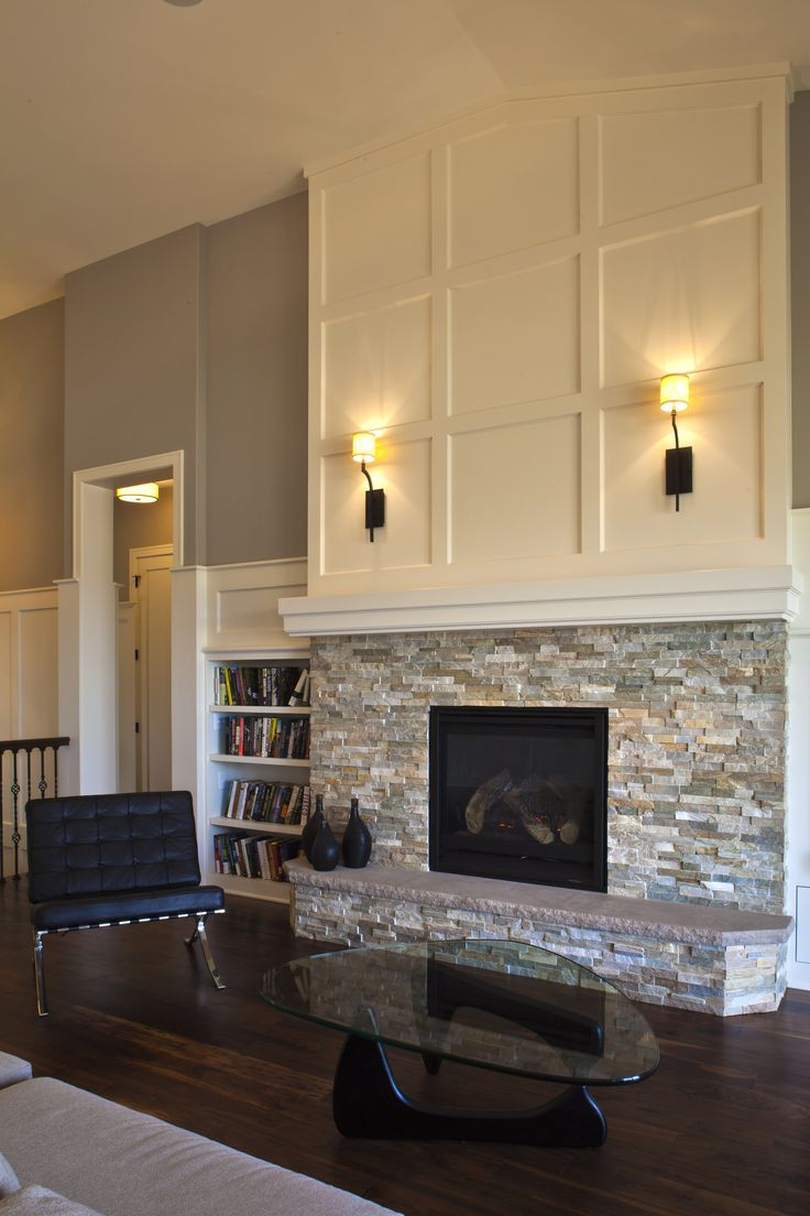 Refaced Stone Fireplace With White Mantel Reface