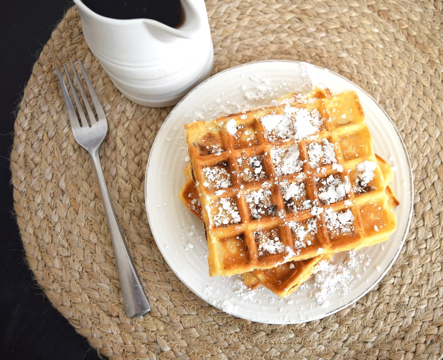 Bacon-Waffles-with-Powdered-Sugar via Chase the Star