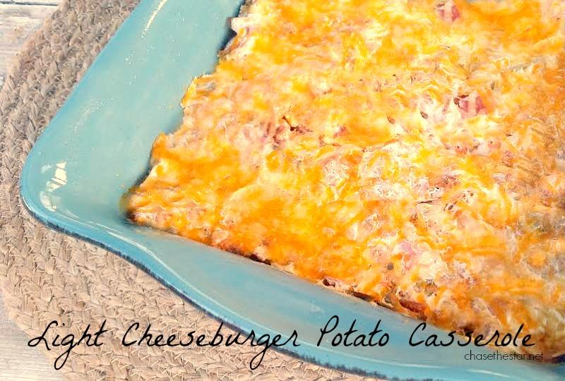 Cheeseburger Potato Casserole #lowcalorie via Chase the Star #weightwatchers