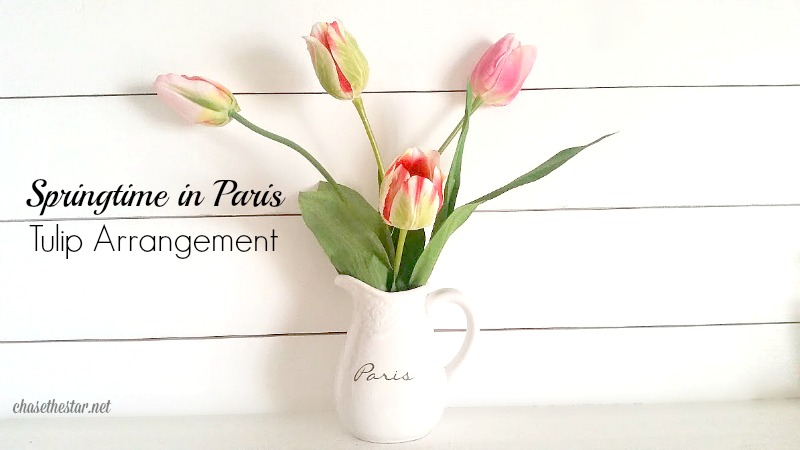 #SpringtimeInParis Tulips in a pitcher @Michaelsstores #michaelsmakers #springdecor