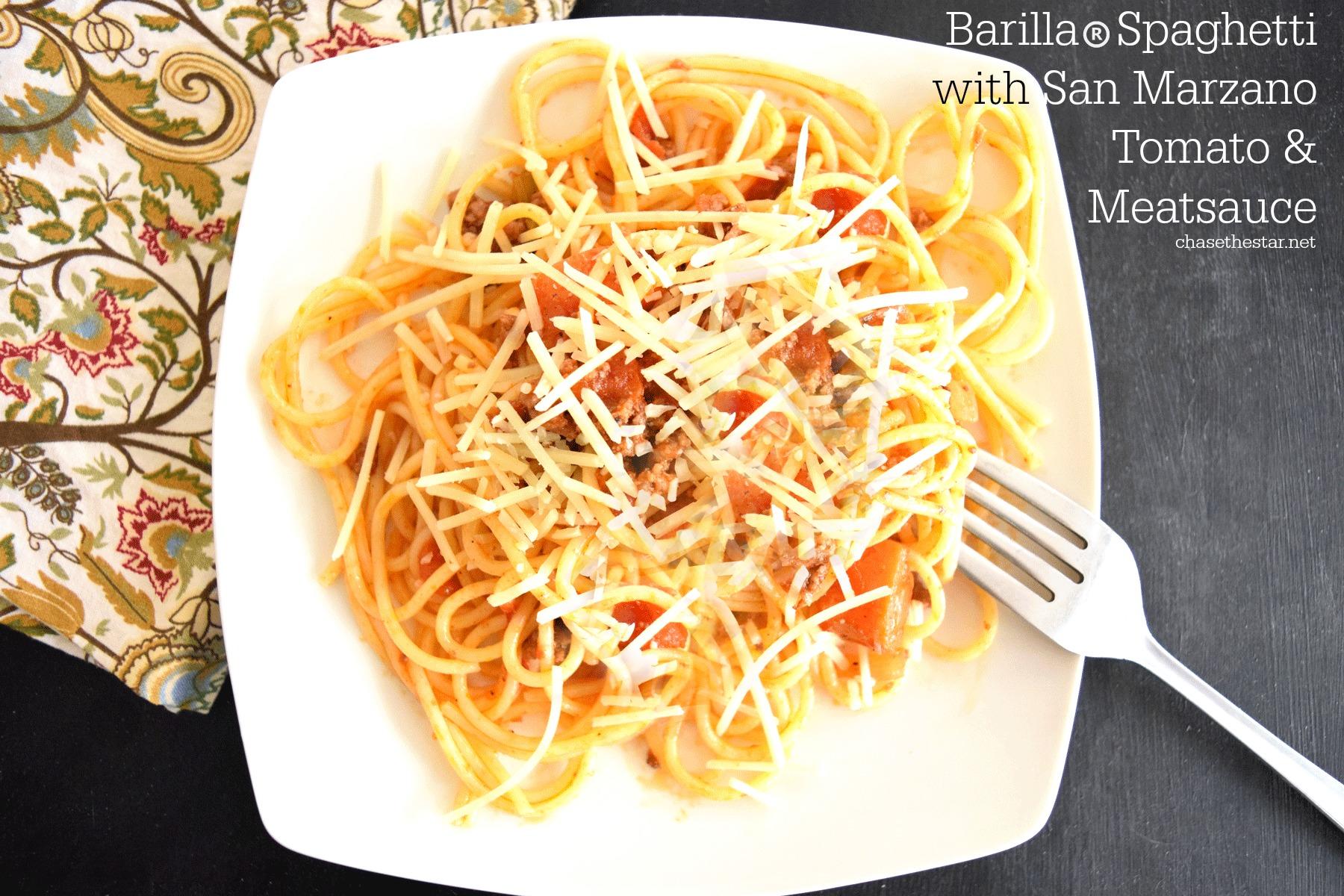 Barilla® Spaghetti with San Marzano Tomato & Meat Sauce #ad