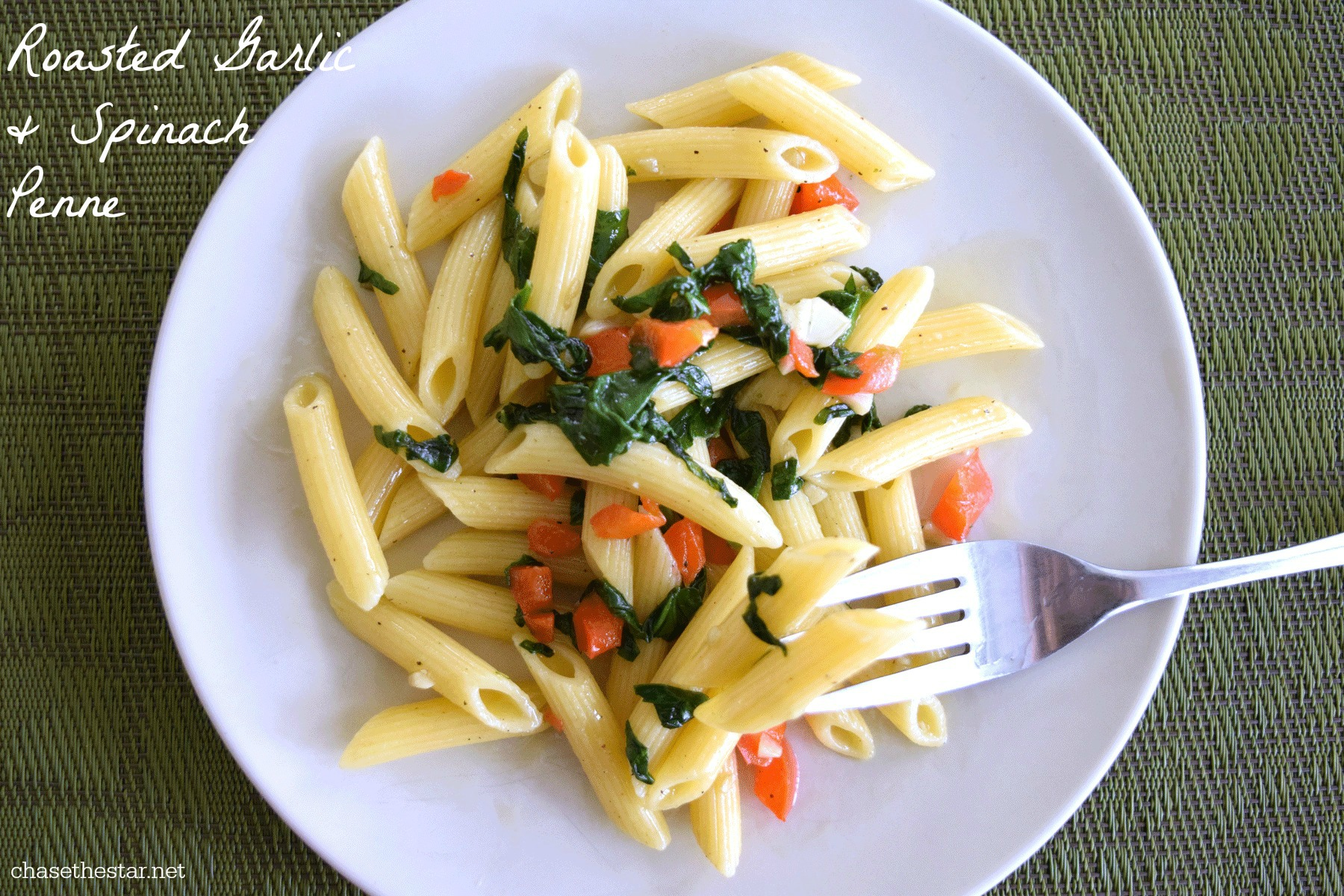 Delicious Roasted Garlic and Spinach with Penne via Chasethestar.net cover