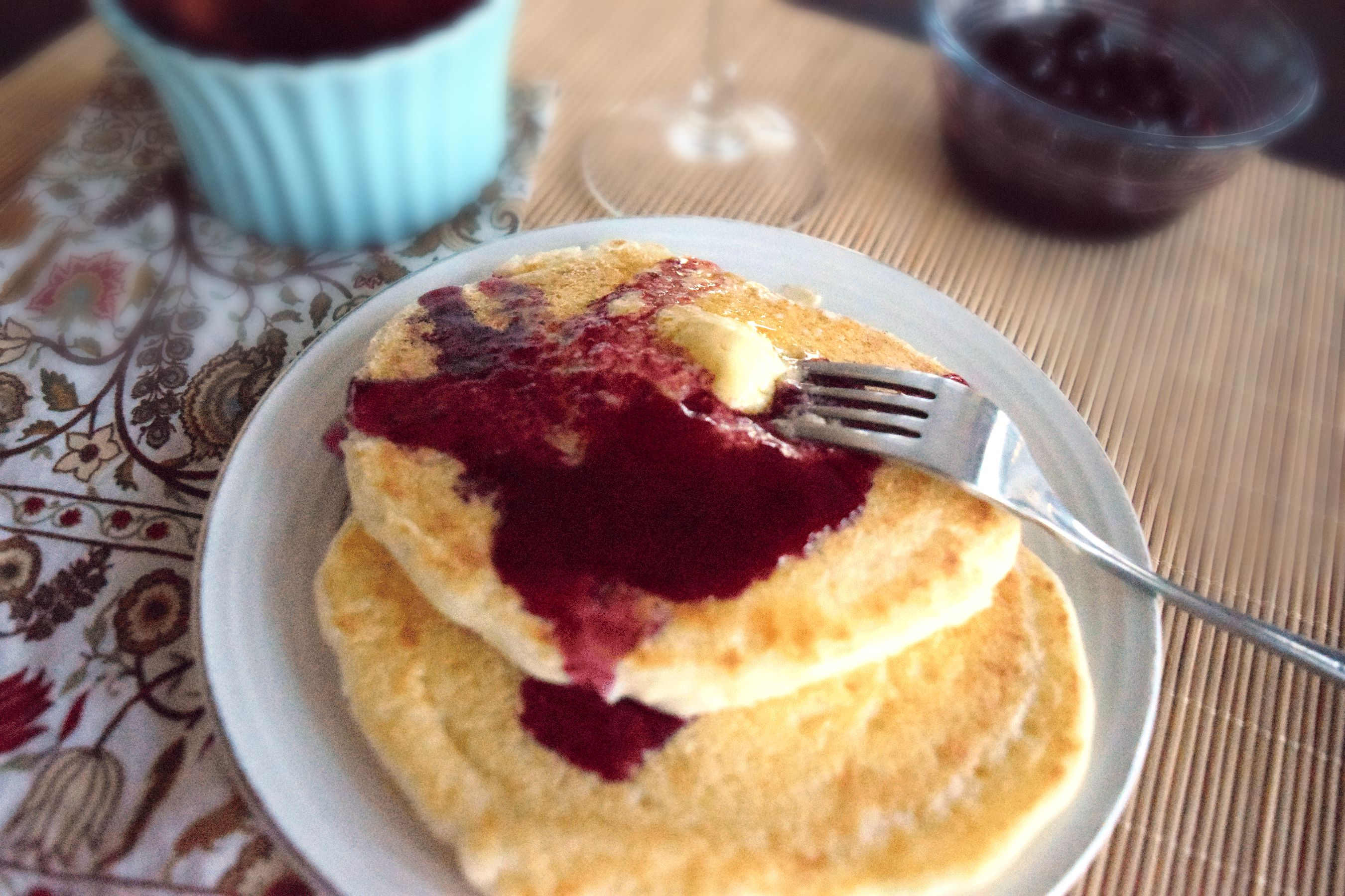 Cornmeal Griddlecakes With Blueberry Drizzle