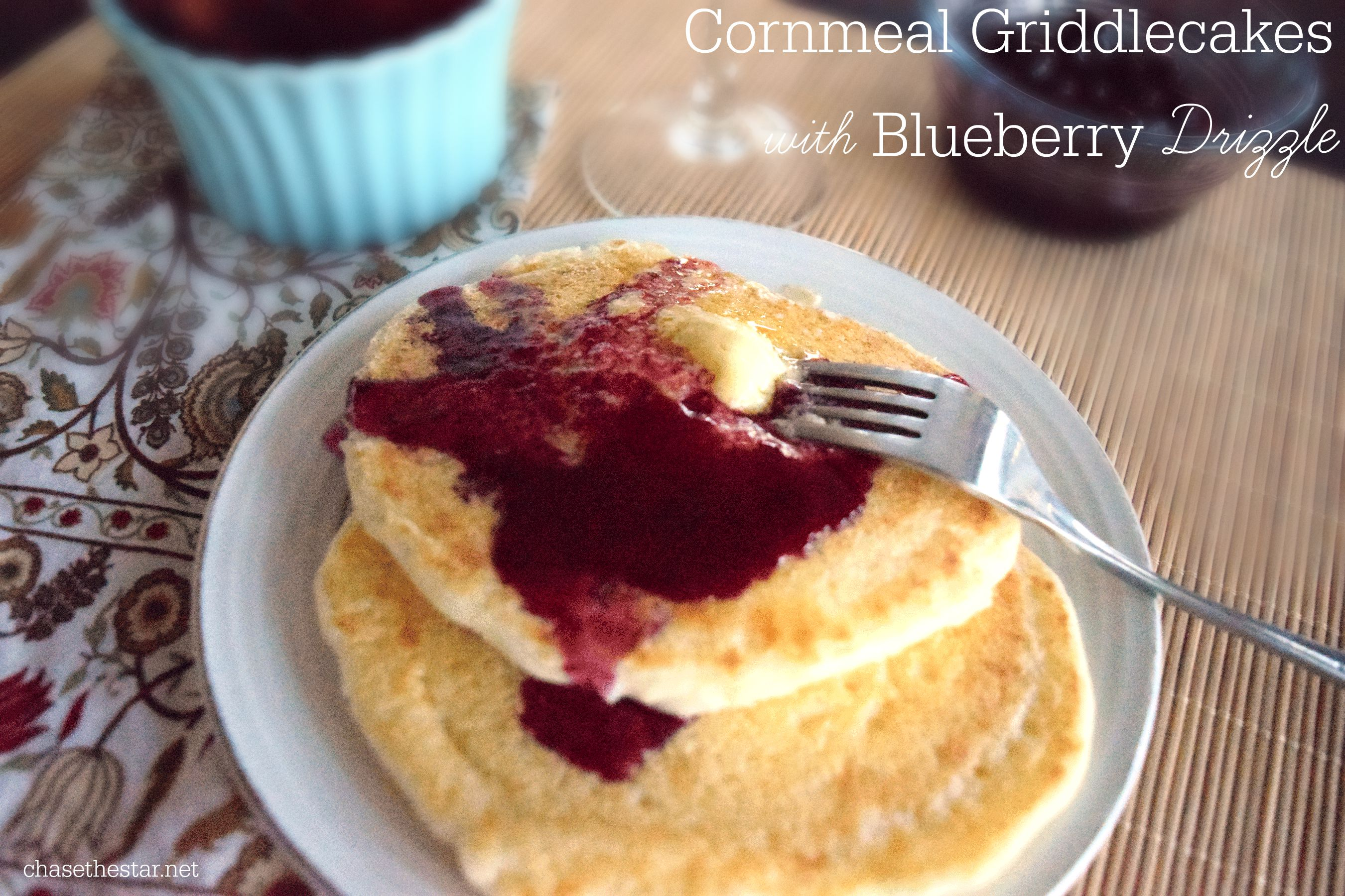 Cornmeal Griddlecakes with Blueberry Drizzle #brunch #panfan #IC #ad