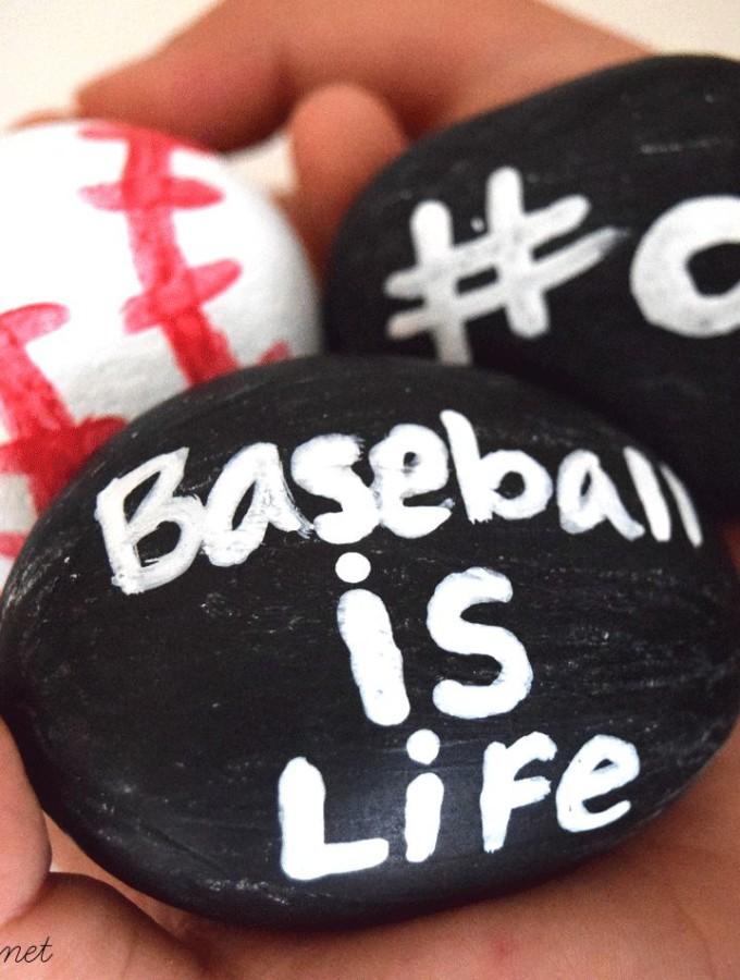 Baseball Painted Rocks #kidscraft #baseball #kids