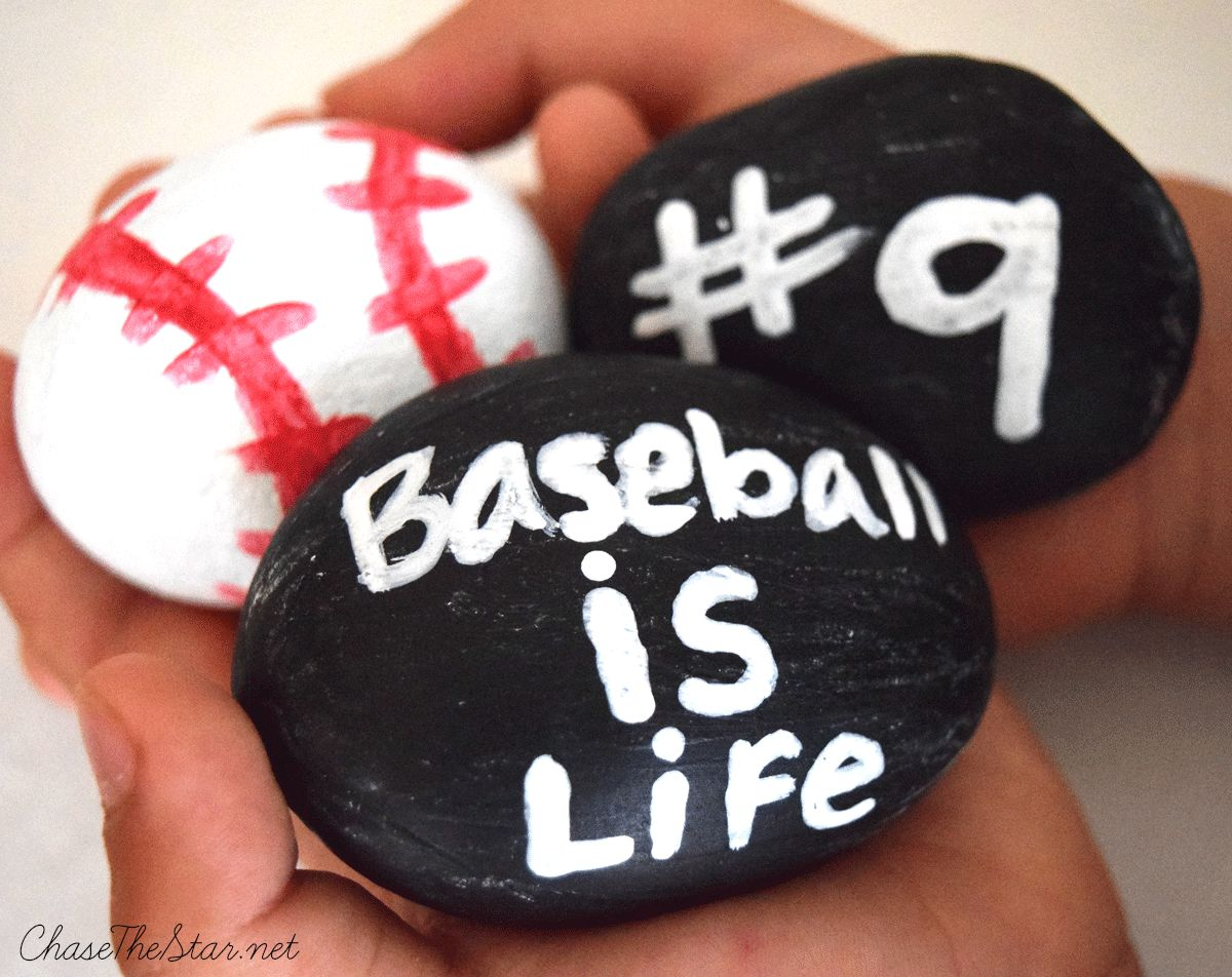 Baseball Painted Rocks #kidscraft #baseball #kids