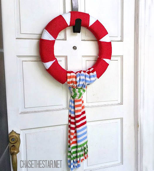 Make-a-simple-Red-and-White-Christmas-Wreath-using-a-Floracraft-Wreath-Form-in-no-time