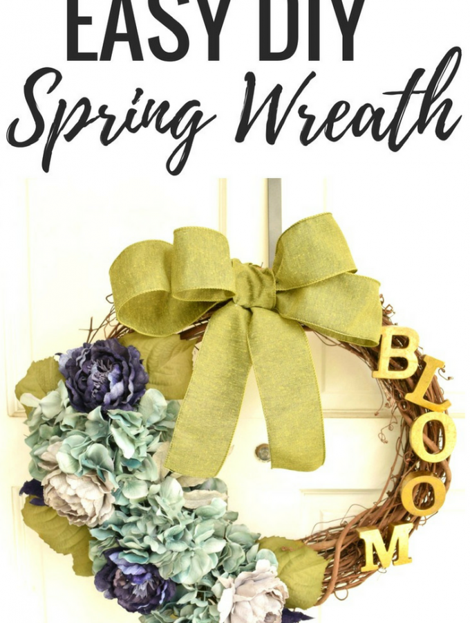 DIY Spring Wreath- This rustic yet elegant spring wreath for thefront door or anywhere in your home is perfect way to ring in the spring! Start with a simple grapevine wreath and create your own!