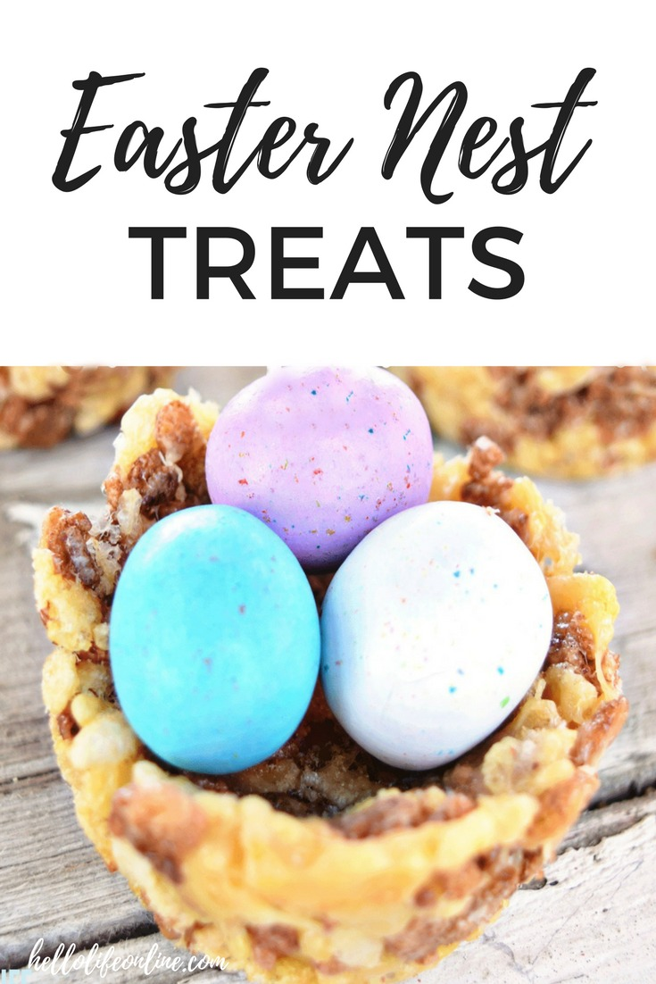 Easter Nest Treats- How cute are these homemade Easter Nest Treats?! This is an easy recipe to put together, send them to school, or enjoy with the kids at home. You can even take some to the co workers, adults love them too!