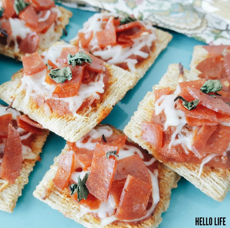 Triscuit Pizza - I love this healthy snack option! A Triscuit Pizza is a tasty appetizer that is easy to make and sure to please!