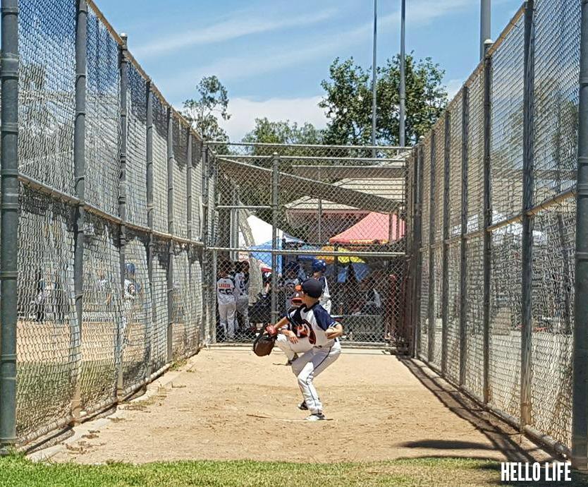 Little League Pitcher in the bullpen