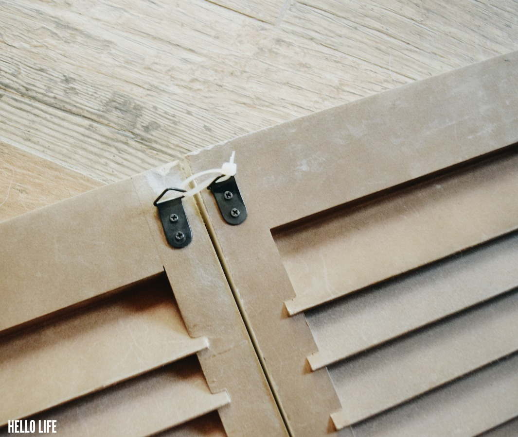 Use zip ties to attach the shutters together
