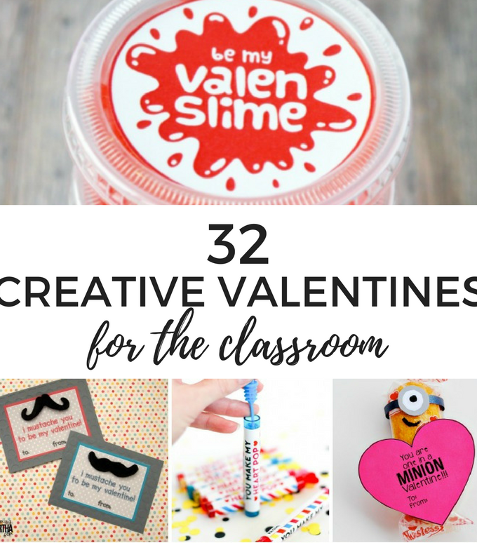 32 Valentines For the Classroom- You'll fall in love with this collection of creative Valentine cards for the classroom! Easy crafts kids can put together themselves or work together with mom, including lots of fun free printables!