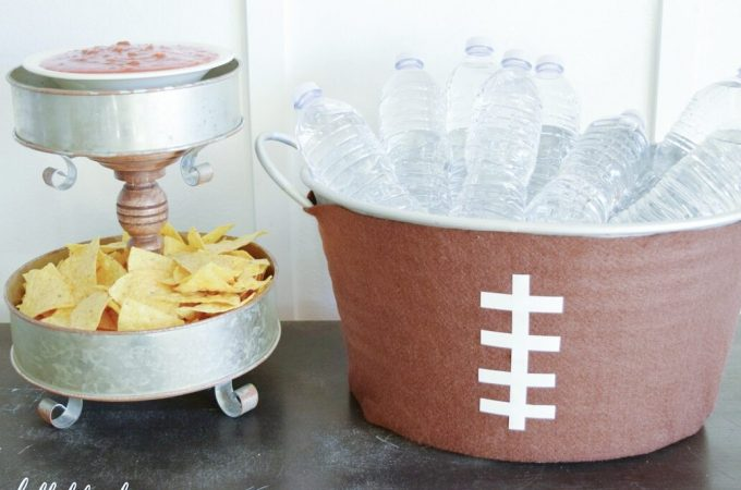 Game Day Party- Learn how to make an easy rustic DIY appetizer stand and beverage bucket, perfect for a Superbowl party or any other occasion!!